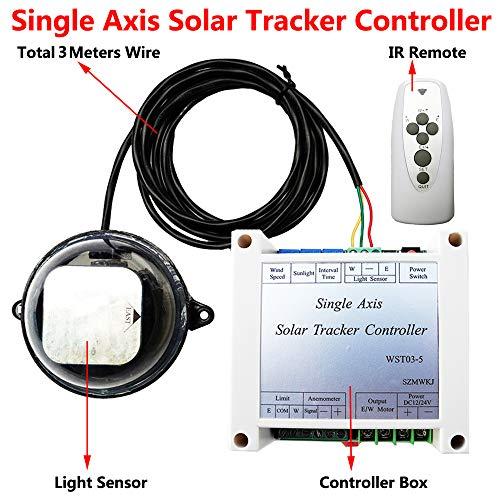 QWERTOUR Einachsig Solar Tracker Tracking-Controller-Electronic Solarregler + Lichtsensor + IR-Fernbedienung für Solarzellen-Panel System