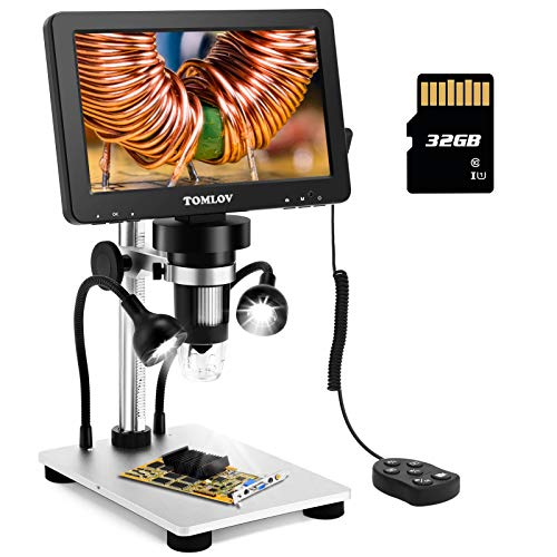 """TOMLOV 7"""" LCD Digital Microscope with 32GB SD Card 1200X, 1080P Video Microscope with Metal Stand, 12MP Ultra-Precise Focusing, LED Fill Lights, PC View, Windows/Mac OS Compatible"""