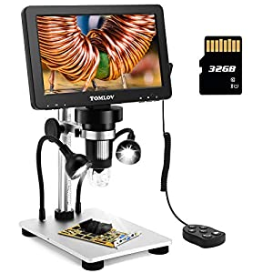 TOMLOV 7″ LCD Digital Microscope with 32GB SD Card 1200X, 1080P Video Microscope with Metal Stand, 12MP Ultra-Precise Focusing, LED Fill Lights, PC View, Windows/Mac OS Compatible