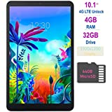 LG G Pad 5 10.1-inch (1920x1200) 4GB LTE Unlock Tablet, Qualcomm MSM8996 Snapdragon Processor, 4GB RAM, 32GB Storage, Bluetooth, Fingerprint Sensor, Android 9.0 w/Mazery 64GB SD Card