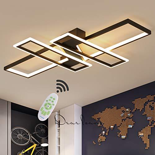 LED Deckenleuchte Wohnzimmer lampen Dimmbar Deckenlampe Hängeleuchte Modern Platz Chic Decke Leuchen Metall Acryl mit Fernbedienung Innen Schlafzimmer Esszimmer Esstisch Deckenbeleuchtung (Schwarz)