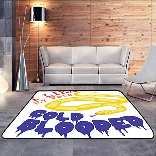 Nursery Rug Majestic Snake Says The Wild Truth Pet Lover Best Friend Illustration Gift Decor Geometric Moroccan Rugs Anti-Static, Water-Repellent, 7 x 7 Feet