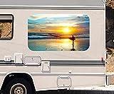 3D Autoaufkleber Meer Surfer Surfen Sonnenuntergang Wohnmobil Auto KFZ Fenster Motorhaube Sticker Aufkleber 21A376, Größe 3D sticker:ca. 161cmx 96cm