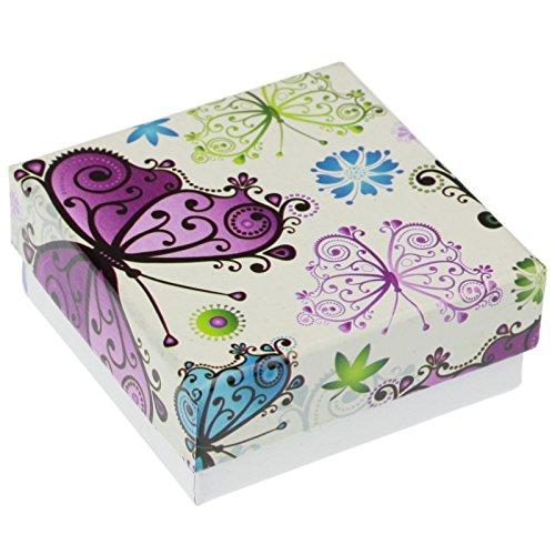 EYS JEWELRY Schmetterlinge Schmuck-Etui für Ohrringe Kette Anhänger 60 x 60 x 25 mm Kartonage mehrfarbig Halskette-Box Schachtel Schatulle Geschenk-Verpackung