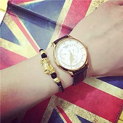 4 Pcs Feng Shui Good Luck Bracelet Black Obsidian Wealth Bracelet for Women Men Adjustable Elastic Leather Jewerly