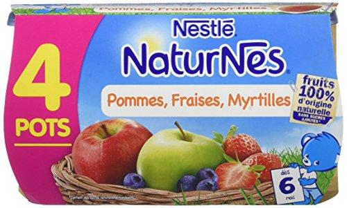 NESTLE NATURNES Compotes Bébé Pommes Fraises Myrtilles -Lot de 4 -Dès 6 mois