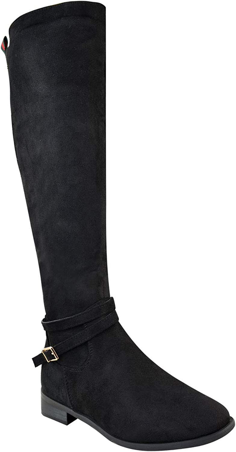 Fashion Thirsty Womens Low Heel Knee High Boots Designer Inspired Striped Stretch Size