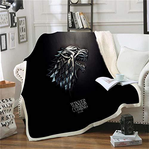 LILANG Manta cálida Juego de Tronos Mantas y Mantas de Invierno cálida Franela de Terciopelo de algodón Impresas Mantas de Viaje 100x150cm