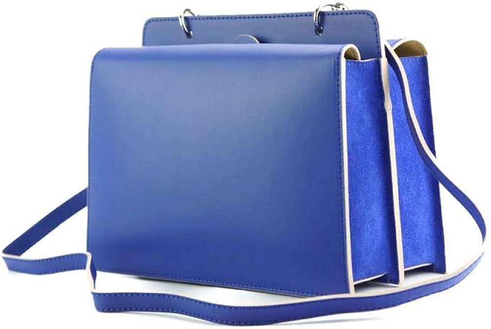 Sac à main en cuir structuré élégant et à la mode avec poignée supérieure et fermoir magnétique pour femme. Bleu Électrique