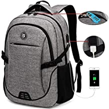SOLDIERKNIFE Durable Waterproof Anti Theft Laptop Backpack Travel Backpacks Bookbag with usb Charging Port for Women & Men School College Students Backpack Fits 15.6 Inch Laptop Grey