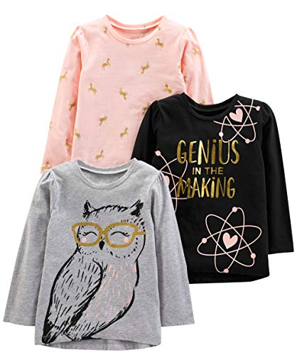 Simple Joys by Carter's Girls' Toddler 3-Pack Graphic Long-Sleeve Tees, Genius/horses/Owl, 5T