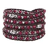 KELITCH Granat Kristall Skelett Perlen 5 Wicklen Armband Hand Weben Neu Mode Schmuck (Rot)