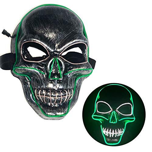 Shenglong Mscara de miedo de Halloween - Esqueleto LED iluminado mscara-festival Cosplay fiesta traje (verde)