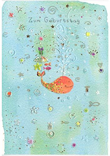 Glückwunschkarte zum Geburtstag - hochwertige Geburtstagskarten von Turnowsky mit Wal in Unterwasserwelt
