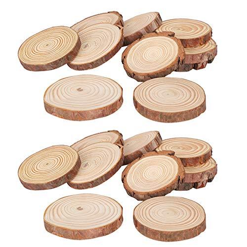 TEANQIkejitop 20 Kiefer Holz Chips Natürliche Holz Chips DIY Holz Disc Handwerk Dekoration Fotografie Requisiten Verwendet für Künstlerische Holz Chips Weihnachten Dekorationen DIY Handwerk