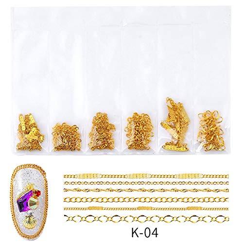 K04 Nagel-Kunst-Schmuckkette Ornaments Metallkette Schmuck Japan Korea Farbe Kette Nagellack Kleber Dekoration