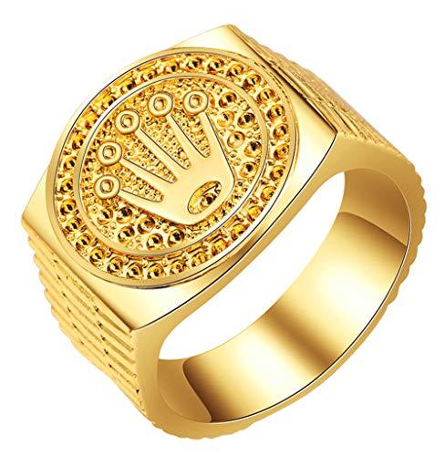 Boomly Anillos de Hip Hop/Rock Unisex Chapado en Oro Anillos de la Amistad Corona de baño de Oro para Mujeres Resultados de joyería para Hombres San Valentín Compromiso Boda
