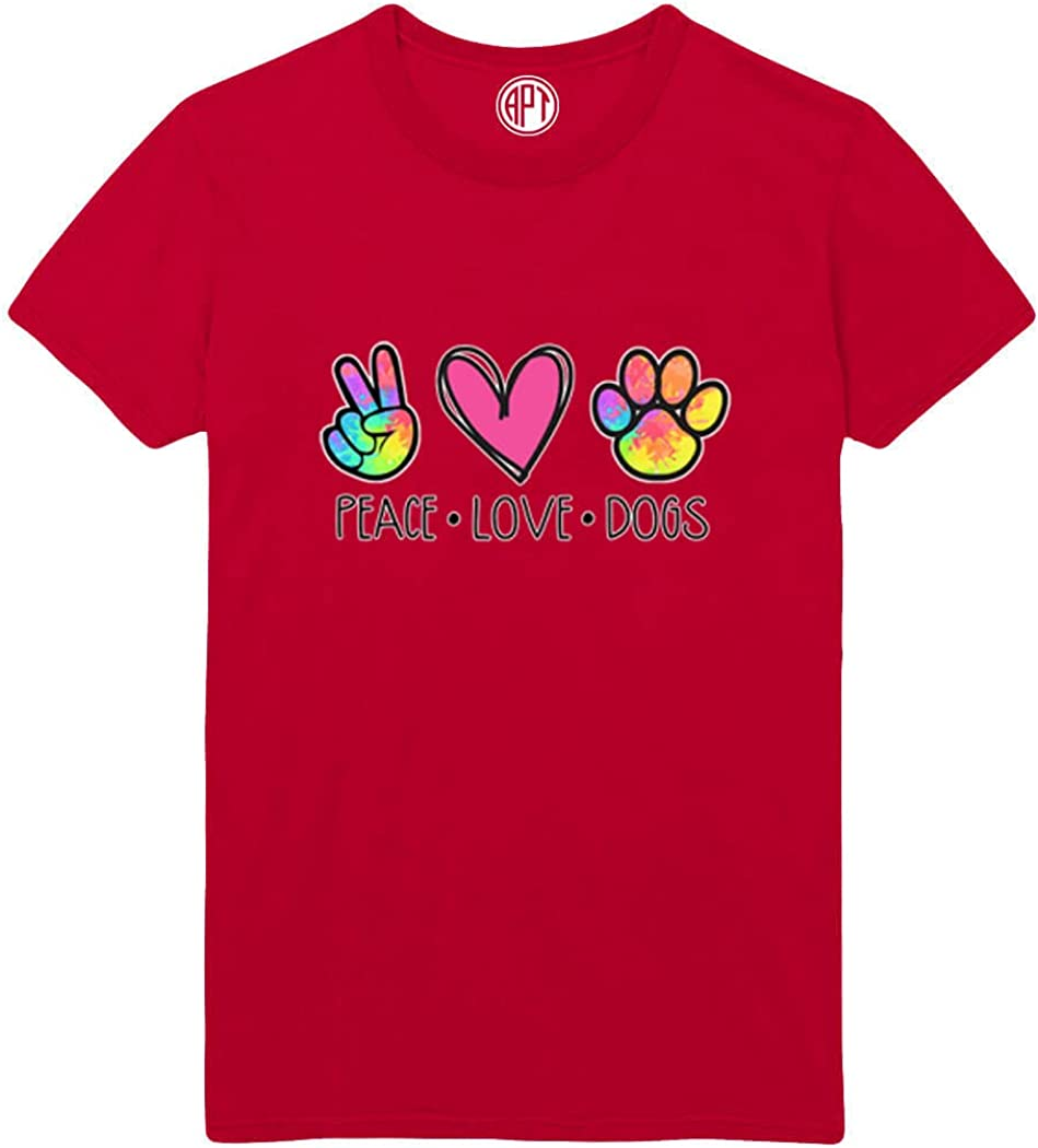 Colorful Peace Love Dogs Printed T-Shirt