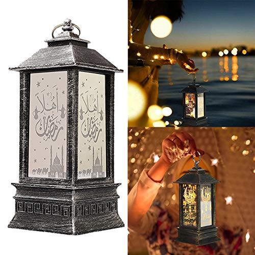 Ramadan Lanterns,Ramadan Laternen Islamisches Arabisch,Eid Mubarak Dekoration Licht (Silber)