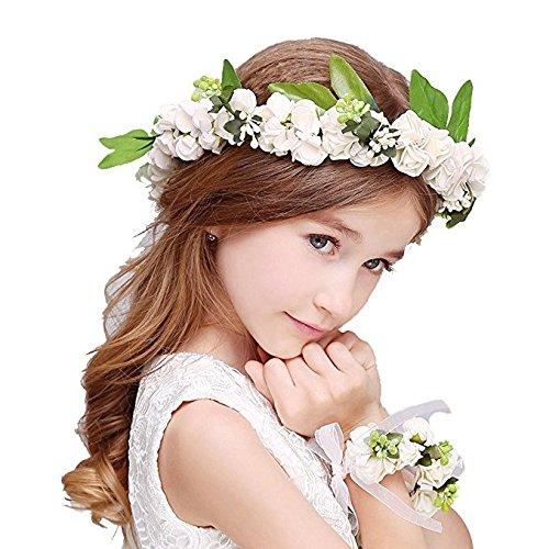 KMALL Bianca coroncina fiori capelli con bracciale fiore per sposa damigella d'onore bambina donna per festa matrimonio fotografia corona fiori ghirlanda fiori fascia fiori tiara fiori