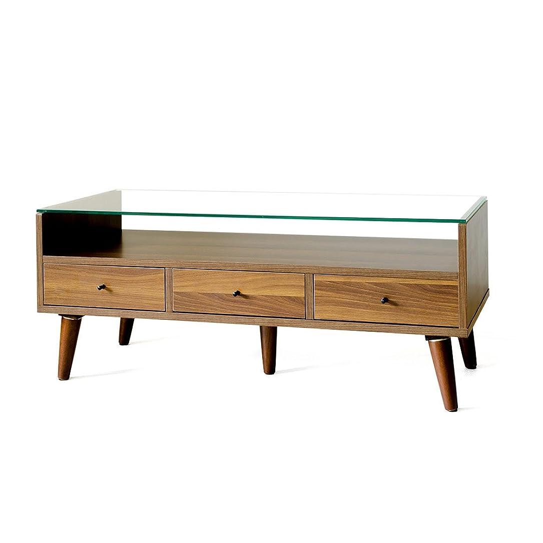 トリプル順応性のある音声エア?リゾーム ローテーブル おしゃれ ガラス 収納付き 引き出し 長方形 リビングテーブル センターテーブル Rolf(ロルフ)