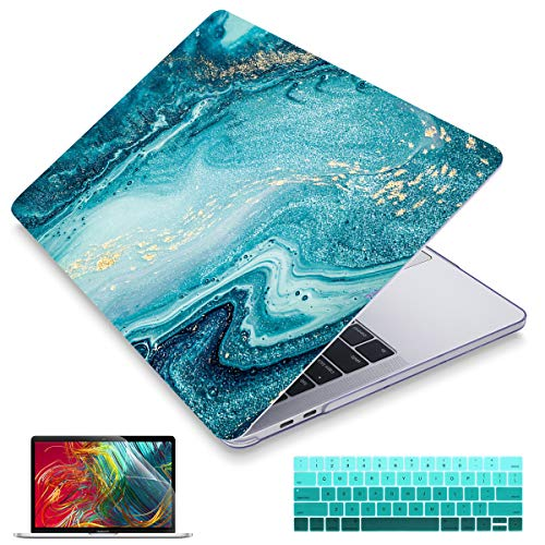 MacBook Pro 13 Case 2019 2018 2017 Release Models: A2195/A1706/A1989/A1708, Maychen Plastic Hard Shell Cover with Keyboard Cover for New Mac Pro 13 inch with/Without Touch Bar/ID- Blue Marble