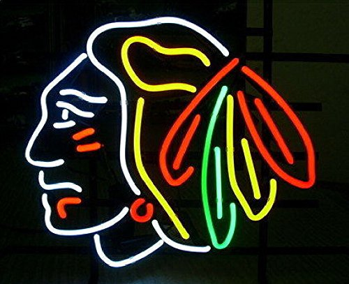Desung New 20'x16' Chicago Sports League Blackhawk Neon Sign Man Cave Signs Sports Bar Pub Beer Neon Lights Lamp Glass Neon Light KC04