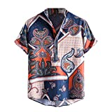 Shirt Top for Men, Baggy Print Short Sleeve Tee Shirt Casual Stand Collar Button Pullover Blouse