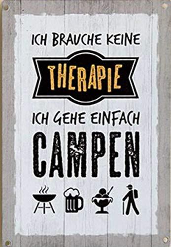 G.H. Vintage Retro Metallschild, Modell: ICH Brauche Keine Therapie, Maße 19 x 13 cm, weiß, ideal für Camper, Zelter, Caravaner, Wohnmobilisten, oder einfach Zuhause.