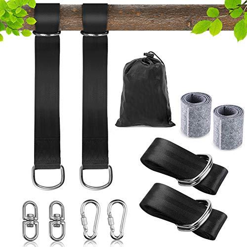KNMY Schaukel Befestigung, Hängematte Befestigung Schaukel Aufhängung Gurt Kit, für Baum Swing & Hängematten, hält bis zu 800 kg, mit 2 Baumschutz Polster, 2 Drehringe und 2 Premium Karabinern(1.5M)