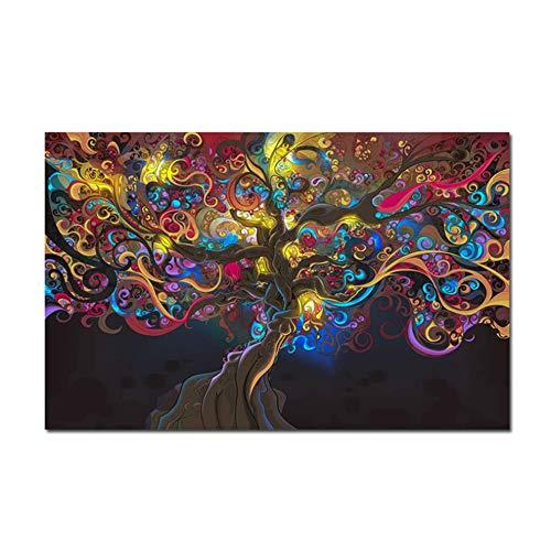 NRRTBWDHL Psychedelic LSD Tree Light Poster und Drucke Leinwand Kunst Gemälde an der Wand Bilder für Wohnzimmer Home Decor -50x70cm No Frame