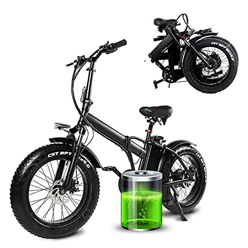 YX-ZD Bicicleta Eléctrica Plegable De 20 Pulgadas Fat Tires con Motor De 500 W, Bicicleta De Montaña Eléctrica para Adultos De 32 mph Y 5 Velocidades, Batería Extraíble De 48 / 15Ah
