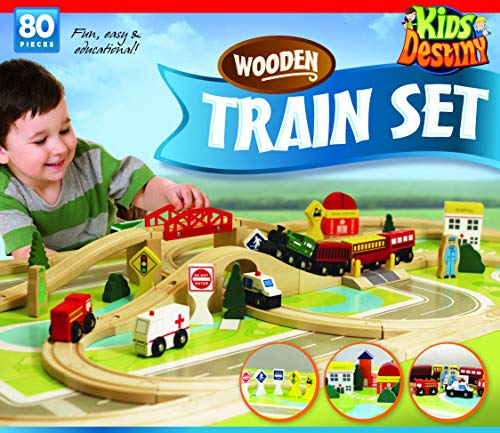 Deluxe Wooden Train Set - Compatible with All Major Brands Including Thomas...