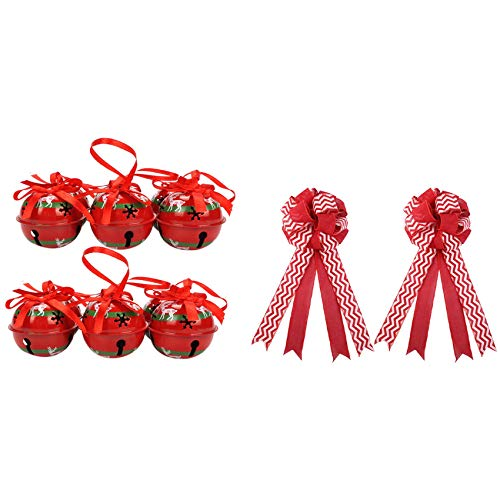 Timagebreze 2 Packs Christmas Tree Topper Bow Red Topper Bow & 12Pcs Home Christmas Decoration Reindeer Red Metal Jingle Bell