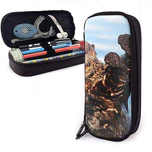 Otter im wasser niedlich stift federmäppchen leder große kapazität doppelreißverschlüsse bleistift tasche stifthalter box 20cm * 9cm * 4cm