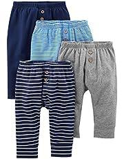Simple Joys by Carter's pantalón para bebé, paquete de 4 ,Navy/Stripes/Gray ,Recién nacido