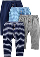 Simple Joys by Carter's Baby Boys' 4-Pack Pant, Navy/Stripes/Gray, 0-3 Months