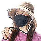 Comhats Sombrero plegable de verano UPF 50 + con cordón para el cuello para mujer, de algodón, 7-12 días entrega 1005_Khaki (sombrero + visera extraíble). M