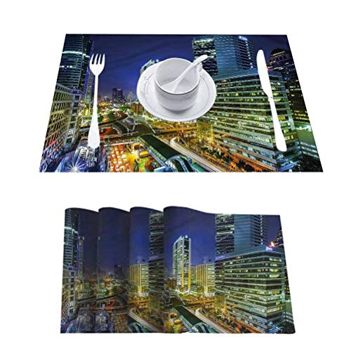 Dining Table Heat-Resistant Placemats Place Mats, Urban Modern Bangkok City at Night, Kitchen Table Mats Easy to Clean, Set of 4
