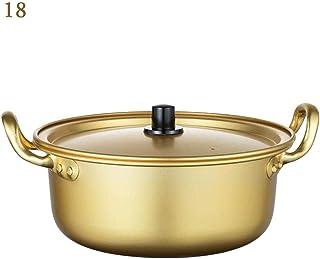chlius Olla de Sopa de Aluminio Amarillo con Tapa Y Doble Asa, Olla Redonda De Fideos Ramen Coreanos con Revestimiento Oxidado, Calentamiento Y Enfriamiento Rápidos 18cm