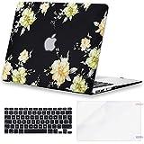 Eono 3 en 1 Carcasa Protectora Compatible con MacBook Air 13 Pulgadas (A1466/A1369, 2010-2017) de Plástico Duro & Cubierta de Teclado & Protector de Pantalla, Flor Amarilla