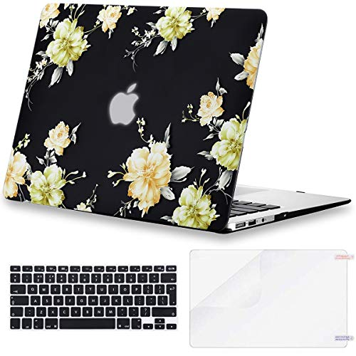 Eono MacBook Air 13 Case 2010-2017 Release A1369 A1466, Plastic Hard Shell&Keyboard Cover&Screen Protector Compatible with MacBook Air 13, Yellow Flower