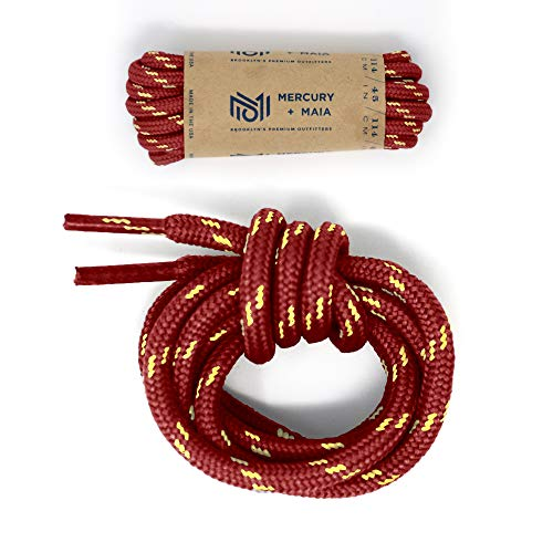 Honey Badger Work Boot Laces Heavy Duty W/Kevlar - USA Made Round Shoelaces for Boots - Maroon, 60 in (1p)