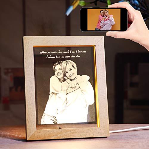 Personalisierter Bilderrahmen mit warmem Licht Geschenke für Mama und Papa, Lasergravur Ihr eigenes Bild in Glas, spezielles Fotogeschenk für Sie