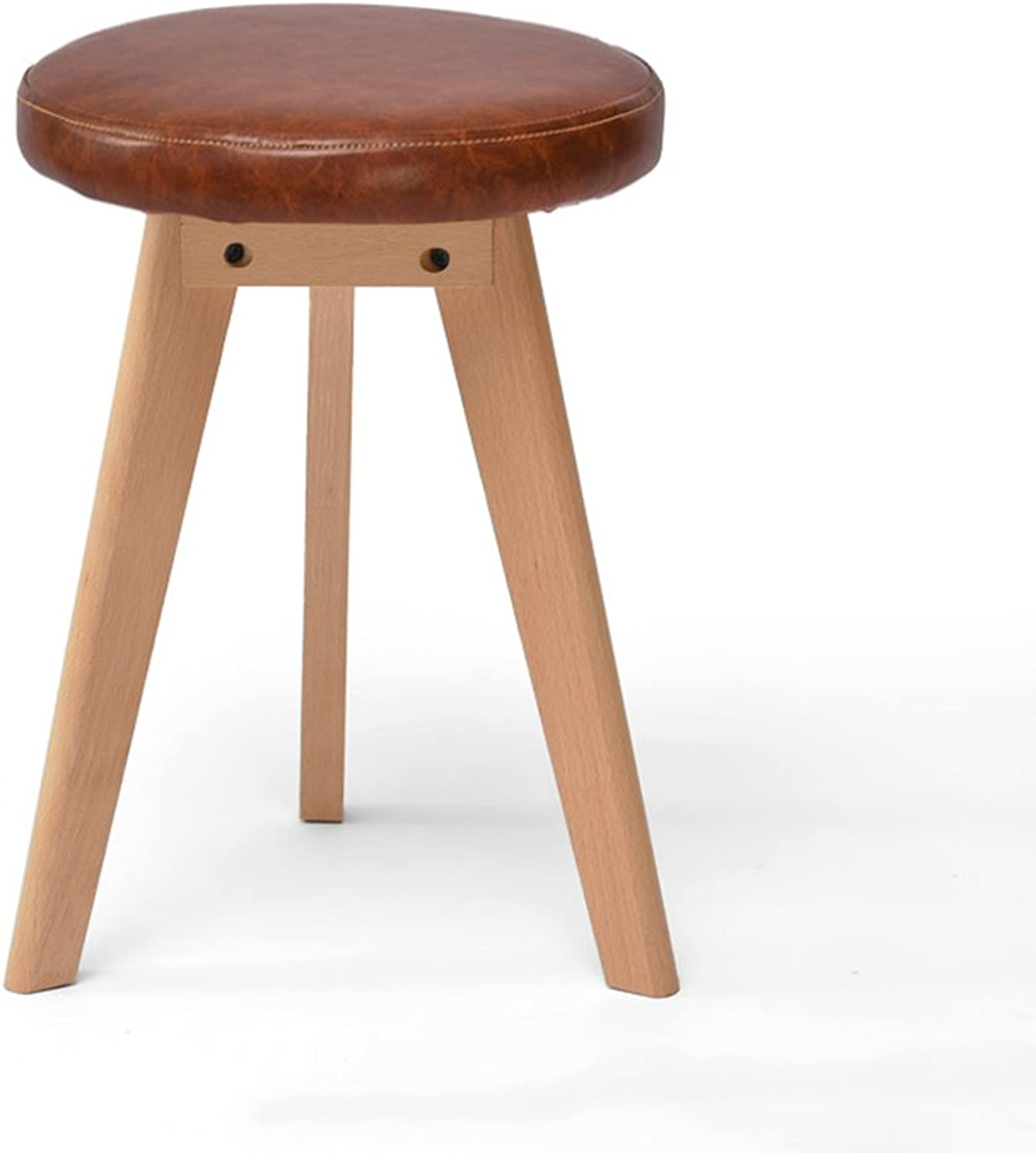ZHIRONG Solid Wood Stool Creative Triangle Make-up Stool Round Dining Table Stool 31  31  46CM (color   Brown)