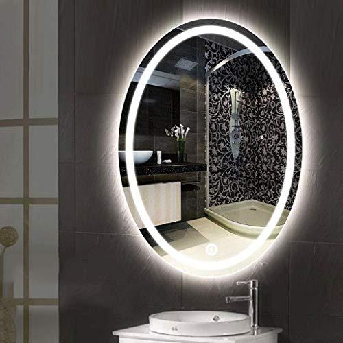 Badspiegel mit LED Beleuchtung Wandspiegel LED-Leuchtbadezimmerspiegel Oval Makeup Rasierspiegel Wasserdichte Wandspiegel mit Anti-Beschlag-Noten-Schalter ( Color : White Light , Size : 600*800mm )