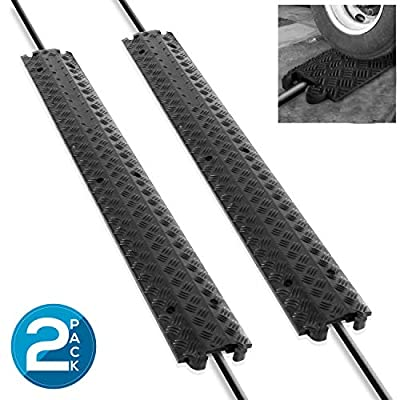 Pyle 80 Inch B07WRSN564 PCBLCO101X2 80 Inch Double Ramp Rubber Floor Cord Concealer - 1 Channel Heavy Duty Cable Protector Wire/Hose/Pipe Hider Driveway Protective Covering Armor PCBLCO101X2