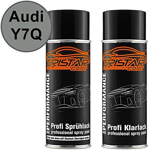 TRISTARcolor Autolack Spraydosen Set für Audi Y7Q / LY7Q Atlasgrau Metallic Basislack Klarlack Sprühdose 400ml