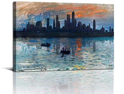 Abstract Watercolor Cityscape Painting Canvas Wall Art Prints Skyline Building River Boat in the Sunset Wall Artwork for Bedroom Home Office Living Room Decor 12x 18 inch