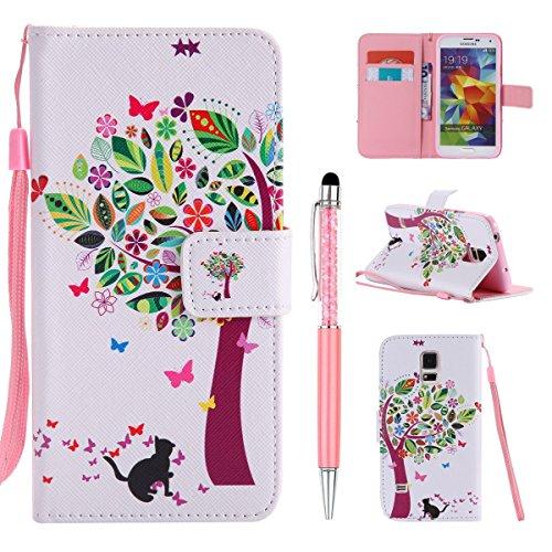 ZCRO (Nicht Für S5) Schutzhülle für Samsung Galaxy S5 Mini, Flip Case Hülle Leder Tasche Hülle mit Muster Kartenfach Magnet Cover Design Handy Hüllen Glitzer Stift für Samsung Galaxy S5 Mini (Katze)